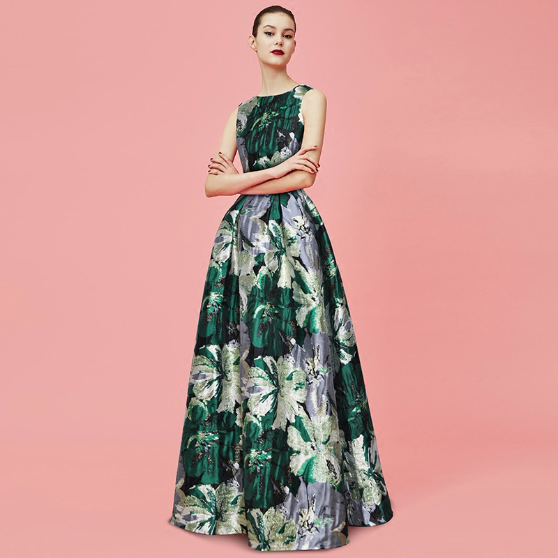 floral print jacquard cotton women party dress ball gowns round neck sleeveless empire waist draped floor length maxi dresses