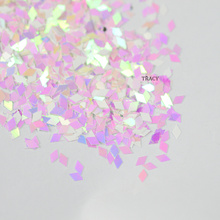1 box New Rhombus Designs Beautiful Shiny Pink Clear Sparkly Nail Sequin Nail Art Glitter Decorations Diamond Paillette TRLQ03