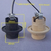 10pieces/lot E14 full threaded plastic lampholder  with M10 thread bracket and 30cm black/white wire Pendant Lampholder