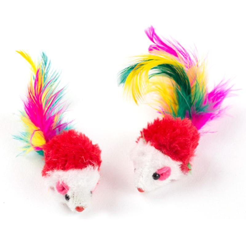 10 Pcs Cat False Mouse Pet Mini Funny Playing Toys with Colorful Feather Plush