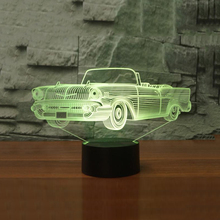 3D LED Convertible NightLight LED USB Touch Button Table Lamp 7 Colors Changing LED Sports Car Shape Lights Home Decor Kid Gifts(China)