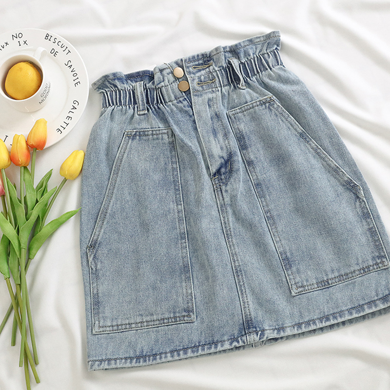 Elastic Waist Summer Women Denim Skirt Pockets Sexy White High waist jeans Skirts A-line Casual Ruffles Female mini saia mujer 10