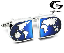 Free Shipping Globe Cufflinks Wholesale&retail Novelty Blue Color World Map Design Quality Brass Material Best Gift For Men