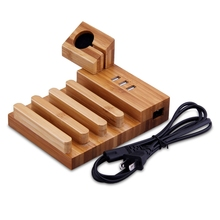3 USB Charger Phone Holder 5 In 1 EU/US/UK Plug Wood Desktop Charging Dock Station Universal Charging for Apple Watch for iPhone(China)