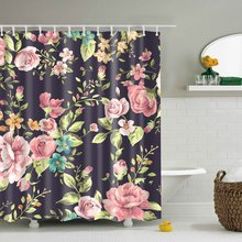 GWELL Red Rose Flower Pink Floral Black Background Waterproof/Mildew Resistant Shower Curtain with 12 Hooks(China)