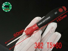 JAPAN TYPE RHINO Tools 362/T5*60 High Carbon Steel Magnetic Precision T5 Torx Screwdriver Length 165mm For Repairing(China)