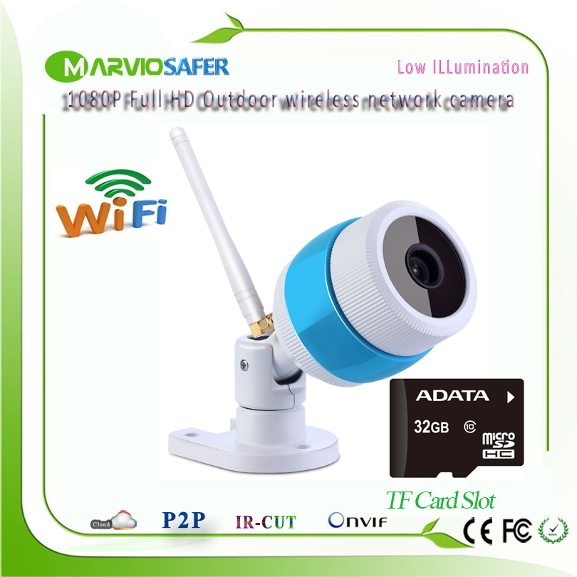 Marviosafer 1080P 2MP Full HD wi fi outdoor use Bullet Network IP Camera wifi ip camera Wireless Camera IPCam Onvif TF Card Slot<br>