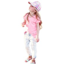 2016 Real Promotion Fashion Minnie Mouse Spring Autumn Kids Girl Short Sleeve V-neck Solid T-shirt And Long Jeans Pant Set