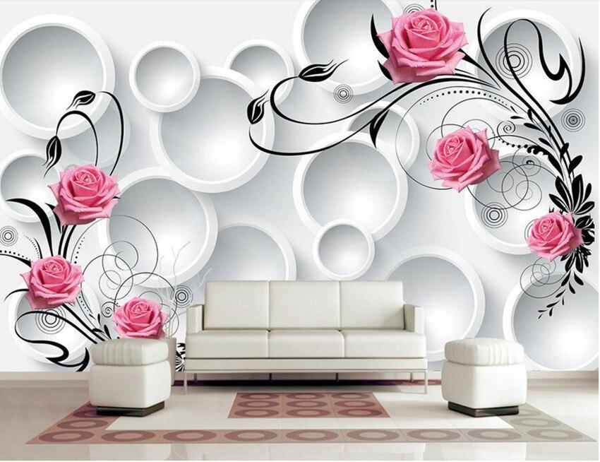 Custom Modern Wallpaper Design,3D Circle Rose Papel De Parede,hotel  Restaurant Living Room Part 77