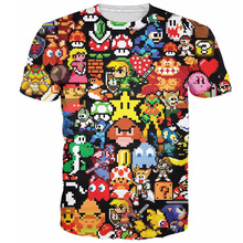 Arcade Collage 3D T-Shirt Pikachu Kirby Mario Chocobo arcade style Cartoon Character t shirt Women/Men crewneck summer tops tee