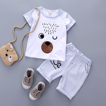 2017 2pcs summer baby set cotton cartoon newborn t-shirt + shorts cheap baby clothes 0-4T babe free shipping