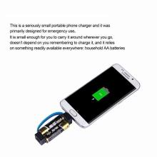 Mini Portable Micro USB Charger Cable Smallest Emergency 2 AA Battery Power Charger for Samsung HTC Huawei Android Phone