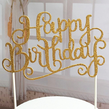 2pcs/lot Gold Glitter Script Happy Birthday Cake Toppers Kids Birthday Party Favors Personalized Cake Decorations 2017 Hot Sale