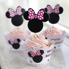 12sets Minnie Mouse paper cupcake wrappers cake cups picks toppers baby shower girl kids birthday party supplies decoration