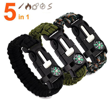 5 in 1 Paracord Emergency Survival Bracelet For Men Women Outdoor Camping Braided Bracelet With Whistle Flint Compass Scraper