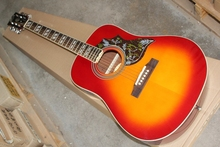 Hot sale Factory custom 41'' Hunningbird  20 frets rounded corner cherry sunburst folk acoustic guitar,can add fishman pickups