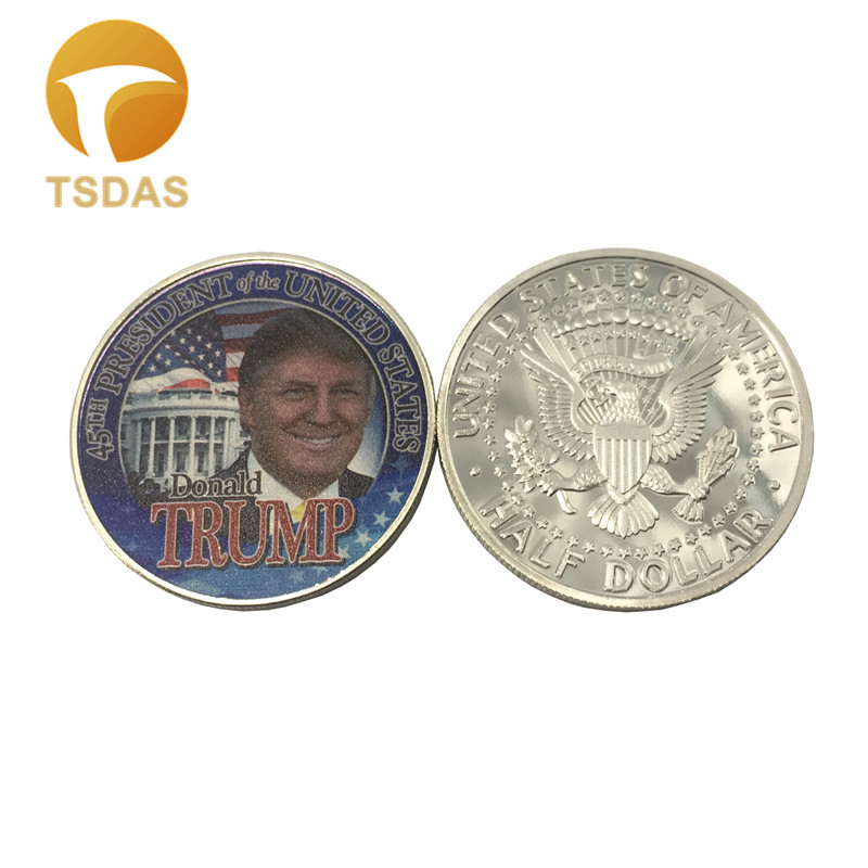 Souvenir Coin Gifts 40*3mm American Silver Plated Coin Trump President Gift Coin Unique Art Ornament Metal Coin Drop Ship(China)