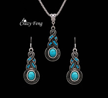 Crazy Feng Jewellery Christmas Gift Tibetan Silver Warp Blue Crystal Round Blue Stone Pendant  Necklace Earrings for Women New