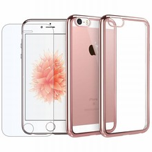 For Iphone 5s Case 5 SE Metal Electroplate Gold Frame Bumper Crystal Clear Soft TPU Case + Tempered Glass Screen Protector Cover