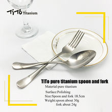TiTo titanium polished Spoon Tableware titanium Fork Ultralight pure titanium Spork Cutlery Camping Cooking Titanium spoon(China)