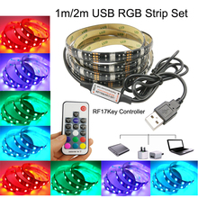 USB LED Strip 5050 RGB Flexible Light RGB LED Strip 1M 2M DC5V TV Background Lighting Adhesive Tape  Waterproof Decoration