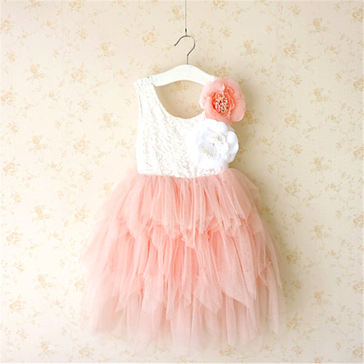Girls Lace Tutu Cake Layered Dress With Flowers Can Moved Dress Western Children Tulle Party Clothes High Quality