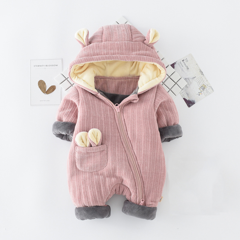 6M-24M Baby Girl Clothing Baby Girl Romper Thickening Cute Cartoon Rompers Striped Hooded Baby Boy Rompers For Winter V20<br>