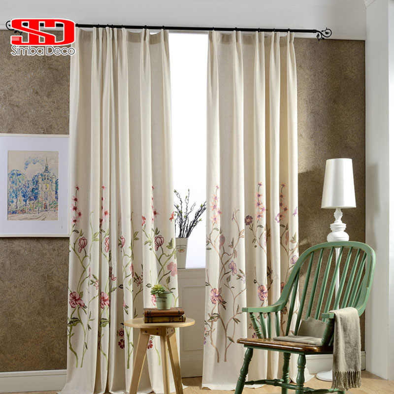 Linen Cotton Fabric Luxury Curtains Blackout For Bedroom Blinds Drapes Pastoral Chinese Floral Window Cortinas For Living Room