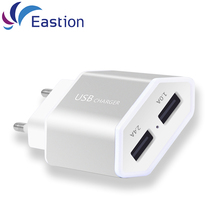 USB Wall Charger For iPhone iPad 2 Ports 5V 2A EU Plug Aluminum Adapter Universal Mobile Phone Accessories Fast Charging Device