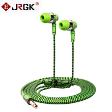 Cheapest Crack Braided In-Ear Headphone with Mic Wired Control Super Bass Universal for iPhone Android 3.5mm Plug Earphone
