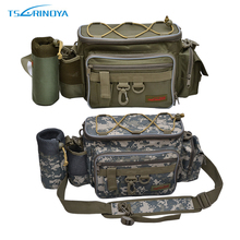 Trulinoya Multi-function Fishing Bag 37*15*19cm Fishing Tackle Bag Waterproof Canvas Waist Fishing Lure Bag