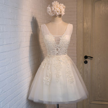 Angel Bridal Appliques Short Prom Dresses Champagne Elegant Lovely Tulle Ball Gown Customized Colors Open Back Sexy Party DressC