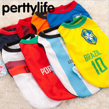 PERTTYLIFE New Fashion Summer Cute Dog Pet Vest Puppy T Shirt World Cup Football doggy cloth clothing Sportswear soccer CLT2(China)
