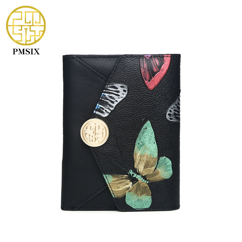 Pmsix 2018 New Women Genuine Leather Wallet Embossed Butterfly Envelope Wallet Purse Short Ladies Mini Leather Wallet P410014<br>