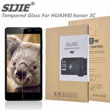 SIJIE Tempered Glass For HUAWEI honor 3C 0.26mm Screen Protector front stronger 9H thin discount Retail Package Hard BOX save