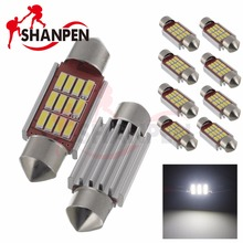 10PCS LED 4014 12SMD MOTIF 31mm 36mm 39mm 42mm C5W LED Bulb DC12V White Dome Light Car Interior Lamp Auto(China)