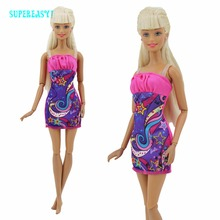 Fashion Short Dress Dinner Wedding Dance Party Mini Gown Lady Wear Dollhouse Clothes For Barbie FR Kurhn Doll Kids Toys Gift H31