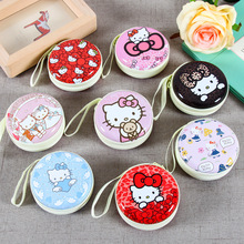 HELLO KITTY cartoon tin purse creative headset bag storage box can be customized for small objects