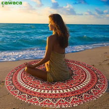 Pawaca Mandala Beach Towel Chiffon Round 150cm Lotus Wall Hanging Throw Tapestry Yoga Mat Women Summer Sandy Blanket Home Decor