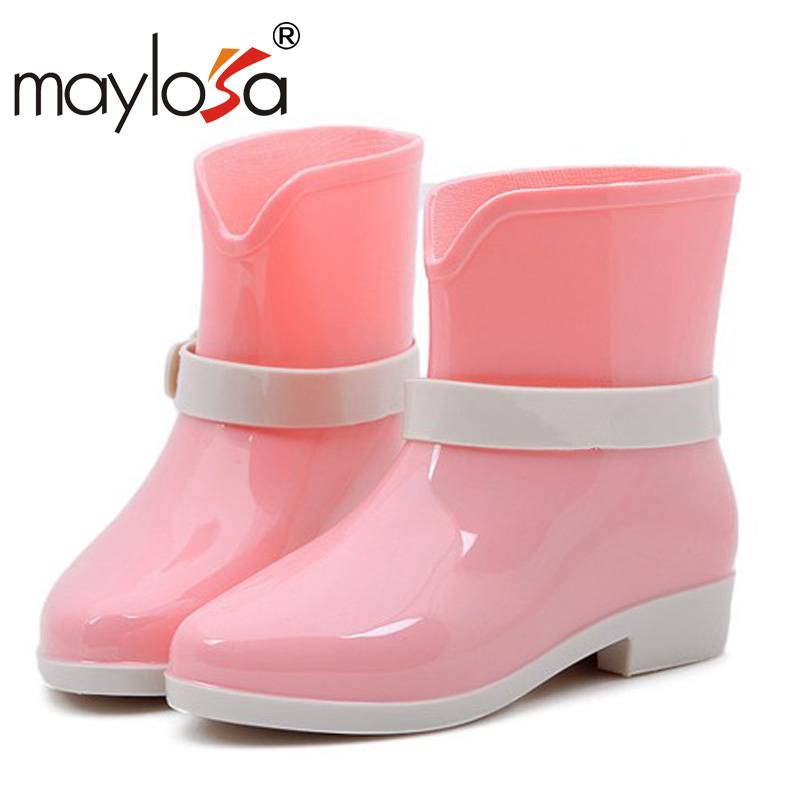New Arrival Women Rain Boots Low Heel Anti-Slip Waterproof Shoes Spring Autumn Fashion Ankle Boots Rainboots<br><br>Aliexpress