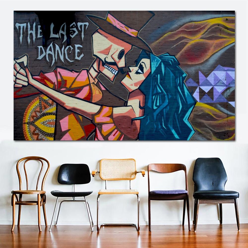Graffiti Street Art Wall Realistic Oil Painting The last Dance Canvas Print