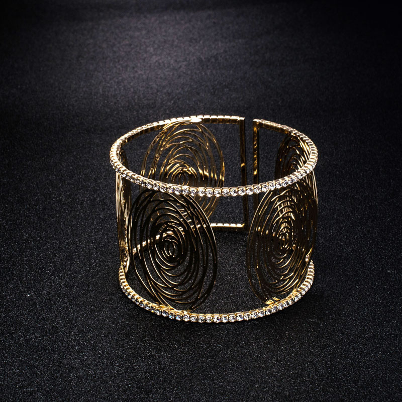 Fashion Wide Cuff Bracelets for Women Gold Color Metal Sparkly Crystal Rhinestone Round Flower Open Bangle Bracelet (8)