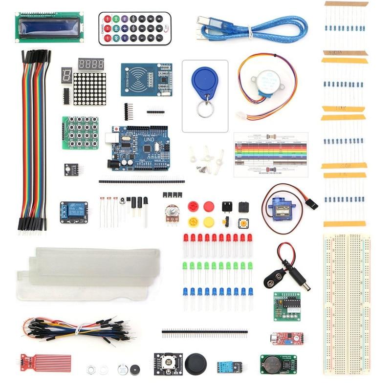 Arduino Starter Kit for arduino Uno R3 - 9G Server /arduino sensor /1602 LCD / jumper Wire/ UNO R3/Resistor free shipping<br>