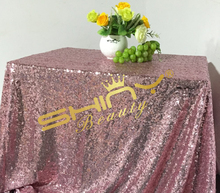 On Sale 50''x50'' Pink Gold Sequin Table Clot Wholesale Table Linens Sparkly Pink Gold Table Sequin Linens For Your Events Decor(China)