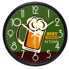 Best Beer In Town Bar Wall Clock Glass Cover Metal Frame No Ticking Sound Durable Cow Clock(China)