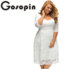 Gosopin New Elegant Large Size Lace Dresses 2017 White Floral Lace Sleeved Fit and Flare Curvy Dress Vestidos Mujer LC61395(China)