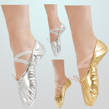 Belly Dance Training Gold Flats Soft Leather Pointe Gymnastics Foldable Ballet Flat Practice Shoes Size 22-43 Wholesale(China)
