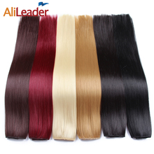 "Alileader 22"" 120G 5 Clips One Piece Long Silky Straight Clip In Synthetic Hair Extension Pure & Ombre Purple Red Blue Hairpiece(China)"