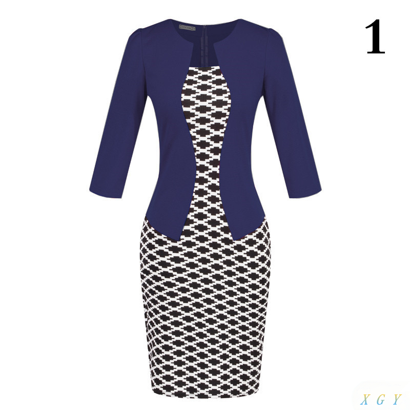 New Fashion Women Dress Sets Formal Pencil Dress Suits Print Flower Plaid Office Wear Work Clothes Attachment Belt CC2848