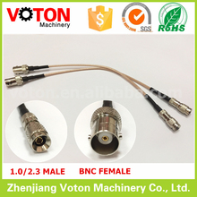 Free shipping 2 pcs 75ohms RoHS coaxial 1.0/2.3 cc4 male to bnc female RG179 cable assembly length 20cm(China)